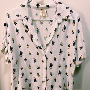 Button up, cactus, short-sleeved collared shirt